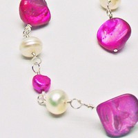 Hot Pink & White Pearl Necklace & Earrings