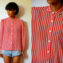 Vtg Sheer Retro Striped Red Black White Button Down LS Shirt