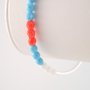 NEW Turquoise and Coral Bangle, Stacking Bracelet, Aqua Blue Czech Glass Beads, Silver Plated Jewelry