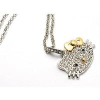 Amazon.com: Silver Plated Hello Kitty Rhinestone/Crystal Diamante Designer Necklace w/gold bow by Jersey Bling in Original Hello Kitty Gift Box: Jewelry