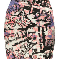 Claire Graffiti Print Mini Skirt