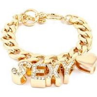 Amazon.com: HOT HOT HOT!!! SEXY Iced Out BLING Toggle Bracelet w/Rhinestone Accents by Jersey Bling (Goldtone V3): Jewelry