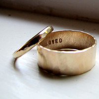 Rustic 14k Yellow Gold Hammered Unique Wedding Ring by tinahdee