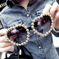 Heart Shaped Rivet Sunglasses