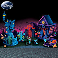 Tim Burtons The Nightmare Before Christmas Black Light Village Set