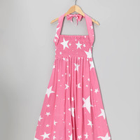 Pink Star Shirred Infinity Dress