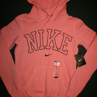 Nike Women's Classic Fleece Pullover Graphic Hoody 480871 Light Pink XS S M L