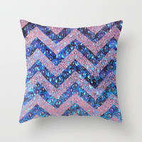 bubbly chevron Throw Pillow by Marianna Tankelevich