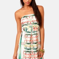 Lavand Pina Kaleid-a Strapless Floral Print Dress