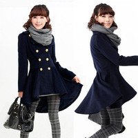 Casual Women Trenchcoat Swing Coat Outerwear Double Breasted Asymmetric Hem 1h3