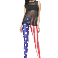 Starry Night — Printing USA Flag Leggings Pant