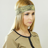 Boho Chic Headband, Beautiful Leaves Ornate Detail, Crochet Gray with Ribbon