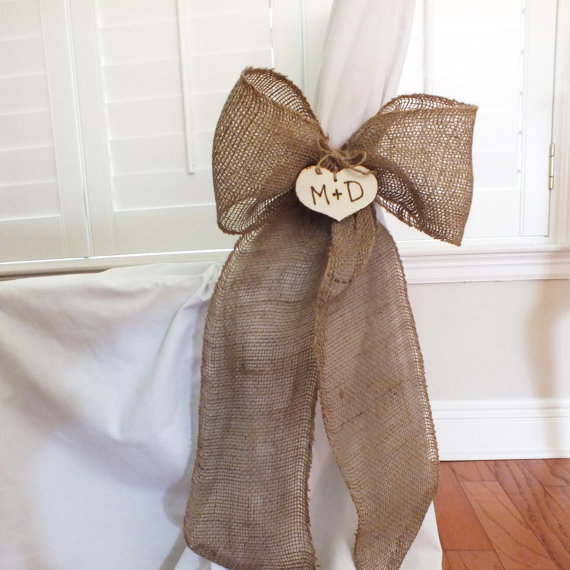 Burlap bow or burlap pew bow burlap from butterbeanvintage on - Bow decorations for weddings ...