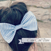 Blue and White Striped Hair Bow