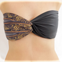 Spandex Bandeau Bikini Top Swim Swimsuit Dark Grey - Aztec Twisted Bandeau, Bandeau Black Spandex , Strapless Bra, Bandeau Bikini