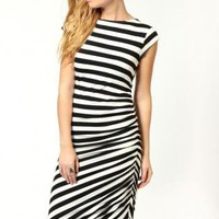 Starry Asymmetric Black And White Striped Dress