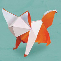 Mr. Origami Fox Art Print by dellydel
