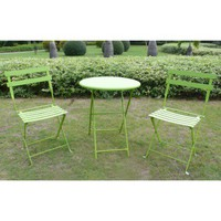 3-Piece Folding Metal Patio Bistro Furniture Set - Green