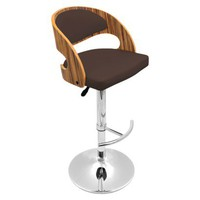 Lumisource Pino Bent Wood Barstool - Brown