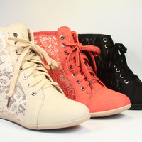 Women's Lace Side Cut Out High Top Fashion Sneaker Hidden High Heel Wedges Shoes