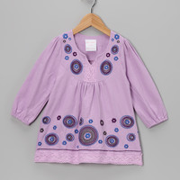 Lilac Embroidered Flower Dress - Toddler & Girls
