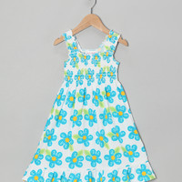 White & Teal Daisy Smocked Dress - Toddler & Girls