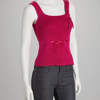 Fuchsia Laced-Ribbon Tank