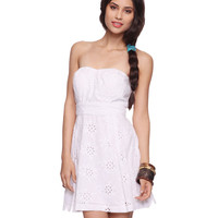 Eyelet Sweetheart Dress w/ Belt | FOREVER21 - 2070221428