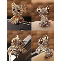 TOOGOO New Crystal Dog Puppy Bear 3.5mm Antidust Anti Dust ear cap for iphone 5, HTC, Samsung:Amazon:Cell Phones &amp; Accessories