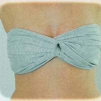 Spandex Bandeau Spandex Bandeau Grey - Grey, Twisted Bandeau, Strapless Bra, Bandeau Top, Bandeau Bikini, Bandeau Beach, Twisted Top