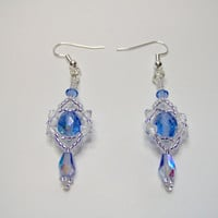 Elegant blue crystal teardrop beaded earrings