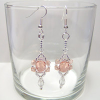 Elegant coral coloured crystal drop beaded earrings