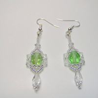 Elegant crystal drop beaded earrings with green focus bead