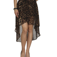 Leopard Chiffon High-Low Skirt | Shop Bottoms at Wet Seal