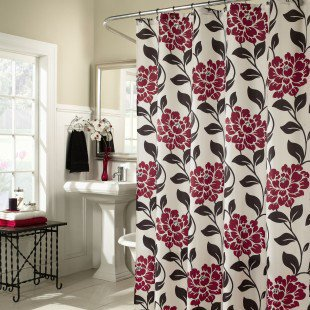M. Style Flora Shower Curtain in Lipstick - MS8091-LIP - Shower Curtains - Shower Curtains &amp; Accessories - Bed &amp; Bath