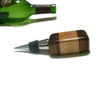 Wood Bottle Stopper  - Upcycled Wine Stopper - Maple and Walnut - READY TO SHIP