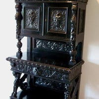 Victorian Gothic German Black Hutch w. Carved Gryphon &amp; Gargoyle Motif c.1890