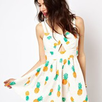 Reverse Sun Dress In Pineapple Print at asos.com