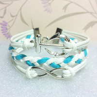 Anchor-Love Bracelet,Infinity Bracelet White Wax Cords and White with Blue braid bracelet.Gift