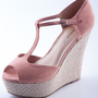 Precariously Perched Peep Toe Bamboo Wedges - Blush from Evening & Club at Lucky 21 Lucky 21