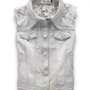 Point Collar Faded Denim Vest with Semi-sheer Lace Panel Back