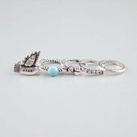 FULL TILT 5 Piece Bird/Bow/Turquoise Rings