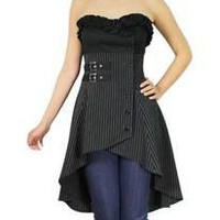 Plus Size Black Buckle Stripes Gothic Strapless Mini Dress Top