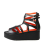 Unique Cut Out Ankle High Straight Wedge Gladiator Sandals | Danischoice.com