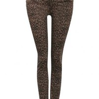 Pilot Animal Print Colour Skinny Jean in Brown