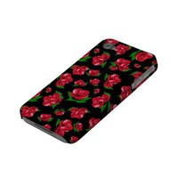 Black and Red Rose Pattern iphone 4 cover