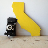 Golden State California State Shape Yellow Cut Out MDF Wedding Decor Home Decor