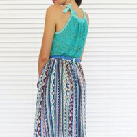 Skirt Midi Pocket Aztec Print