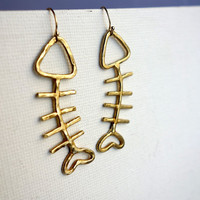 Fish Sticks- Brass Fish Dangle Earrings