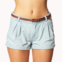 Pleated Chambray Shorts w/ Belt | FOREVER 21 - 2051623173